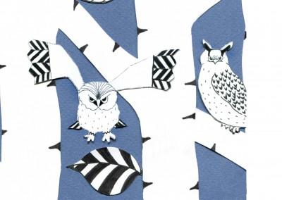 Tapet från Ateljé Pegasos, blå uggla